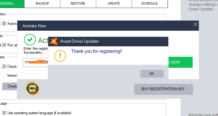 key para activar avast driver updater