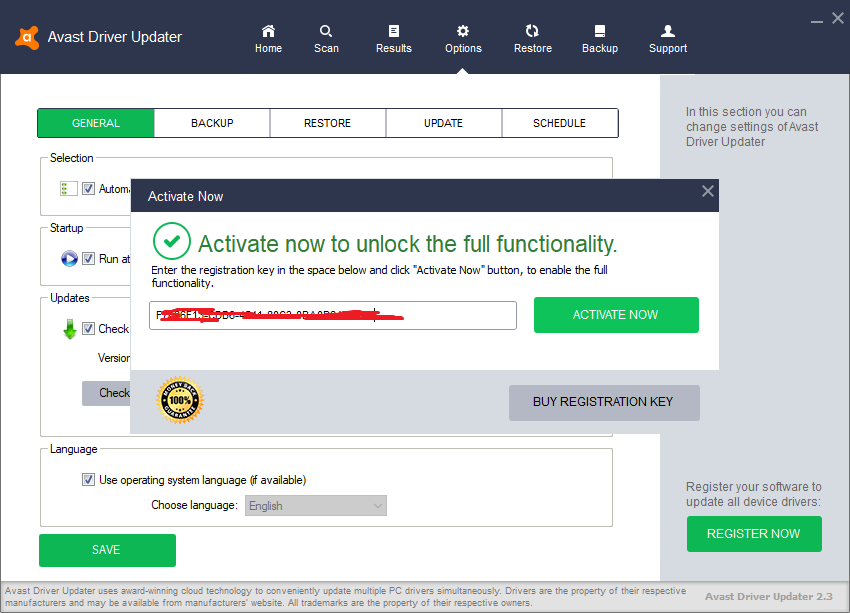 avast driver updater key 2019